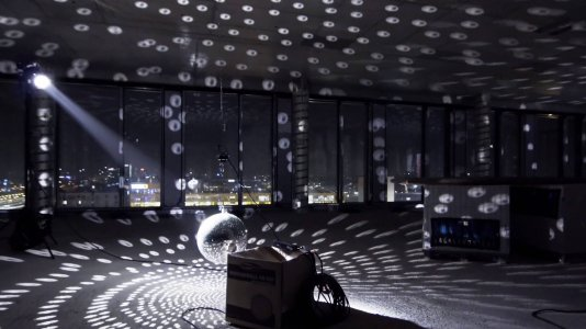 The disco spheres in the Highrise One.