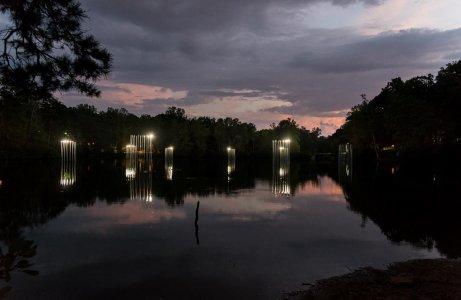 """Islands of Light"" at night."
