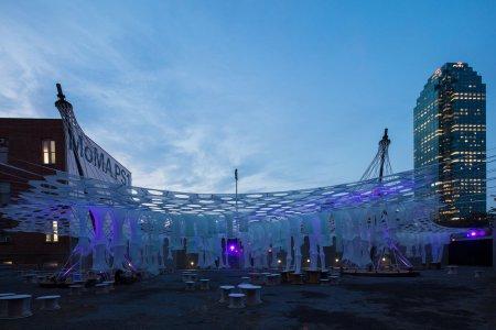 """The """"Lumen"""" light art installation in New York at night."""