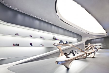 Shoe-shaped shelving units: as if by chance the design philosophy of Zaha Hadid and team aligns very closely to the form of a shoe. Including the elegant sparkle effect.