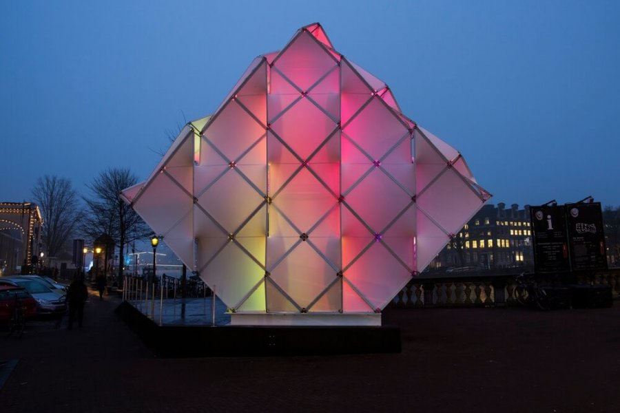 "The ""Eye Beacon"" in Amsterdam at night."