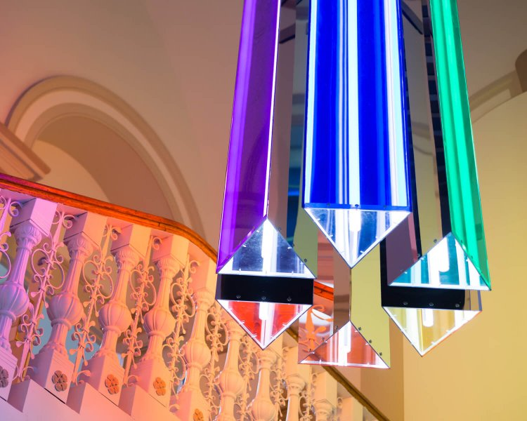 "The ""Sevenfold"" installation by Liz West seen from below."