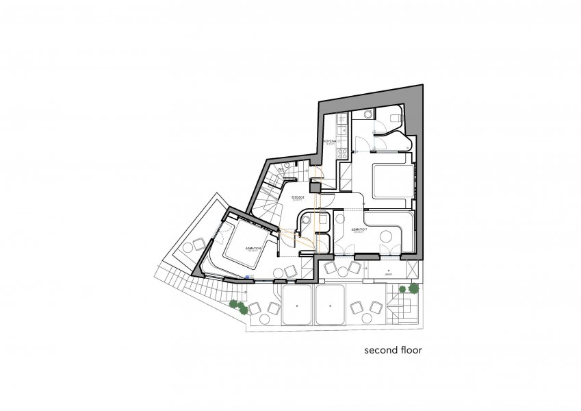 Plan of the second floor at Hotel Andronikos