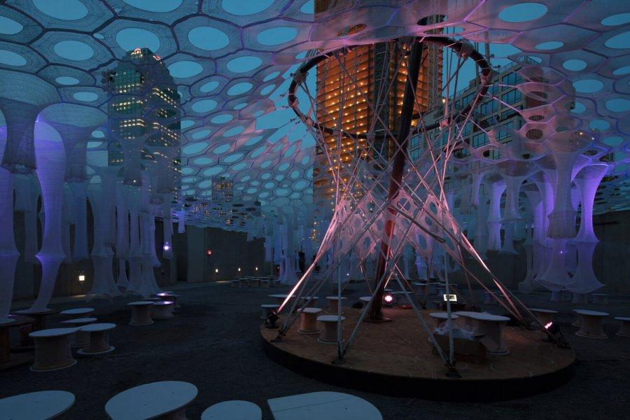 "The ""Lumen"" light art installation in New York seen from close."