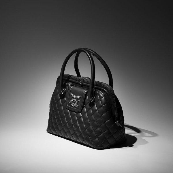 A black handbag.
