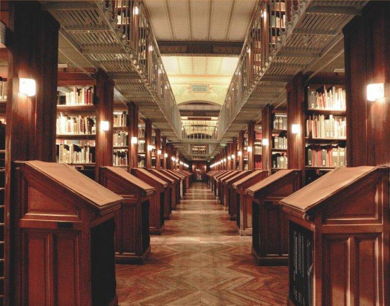 A corridor with bookshelves